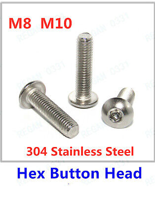 $9.63 • Buy M8 M10 Hex Socket Button Head Screws Bolt 304 Stainless Steel ISO7380 A2/70