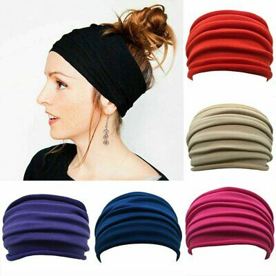 $3.95 • Buy Elastic Stretch Wide Headband Hairband Running Yoga Turban Women Soft Head Wrap