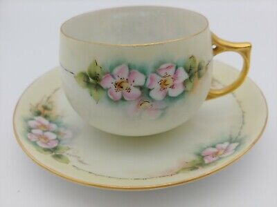 $12.99 • Buy Antique J & C BAVARIA Nippon Hand Painted Eggshell Dogwood Tea Cup And Saucer