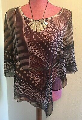 $5.95 • Buy Live And Let Live Size XL Sheer Cape Multicolor Abstract Print
