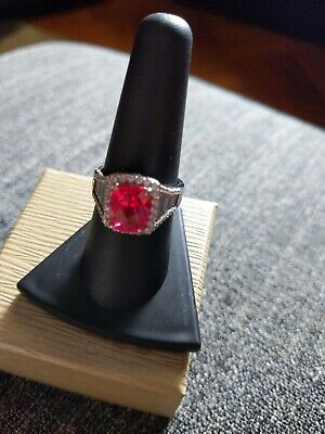 $30 • Buy Charles Winston Synthetic Ruby & White Cubic Zirconia Ring Size 8