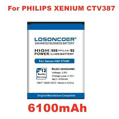 $18.67 • Buy LOSONCOER 6100mAh AB4400AWMC Battery For PHILIPS Xenium V387 CTV387 Mobile Phone