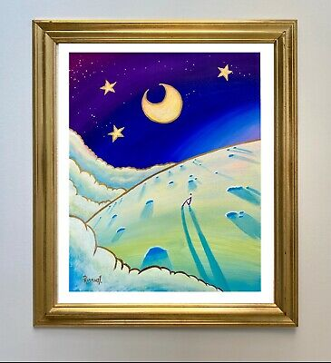 """£499 • Buy Sitting With The Moon By Pete Rumney Art Original Painting 2003 Signed - 20""""x16"""""""