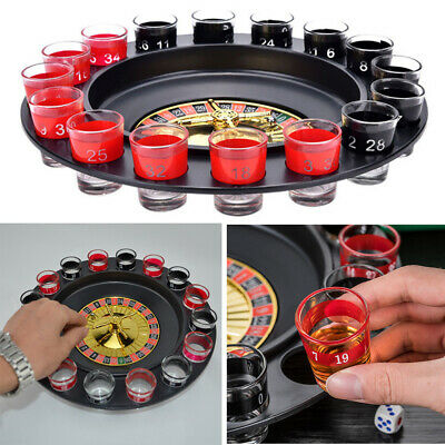 Russian Lucky Shot Roulette Drinking Game With 16 Glass Spin Wheel Board Game UK • 13.14£