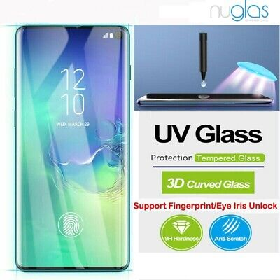 AU10.75 • Buy NUGLAS Note S21 20 Ultra S10 S9 8 + Screen Protector Full UV Glue Tempered Glass