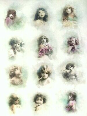 £1.99 • Buy Rice Paper For Decoupage Scrapbooking Sheet Craft Vintage Girls, Child Pictures