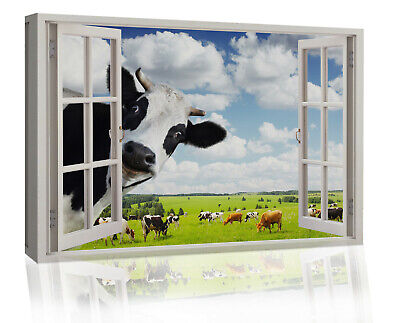 £18.49 • Buy Funny Rural Cow Peeping In Window Canvas Wall Art Print Picture