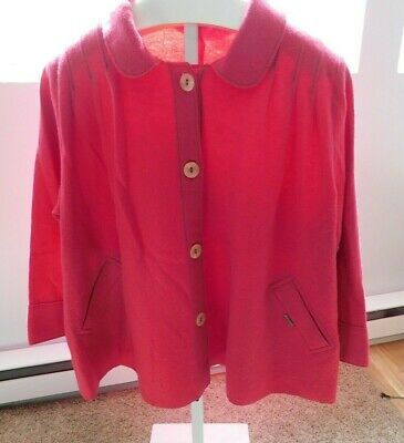 $9.99 • Buy Womens Geiger Pure New Wool Button Front Jacket Size 48 Pink