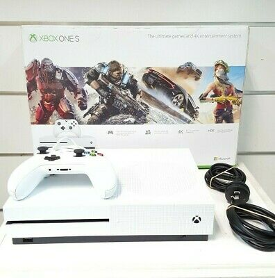 AU248 • Buy Microsoft Xbox One S 1681 1TB White + 1 Controller & Leads - Bids From $1.00