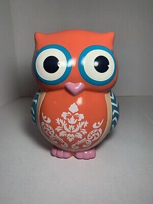 Owl Coral / Teal Floral Coin Bank-Piggy Bank With Big Eyes Decor • 15.83£