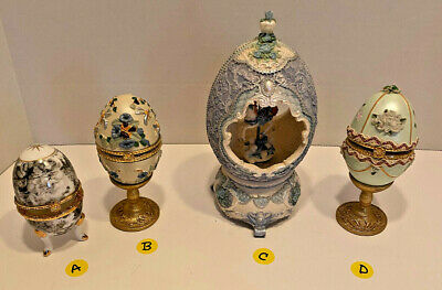 $15 • Buy Vintage Music Box Egg Carousel Horse & Eggs With Stands
