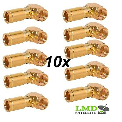 £12.90 • Buy F Connector Compression Angle/90 Degree Plug Gold 7mm For Rg6 Coaxial Cable
