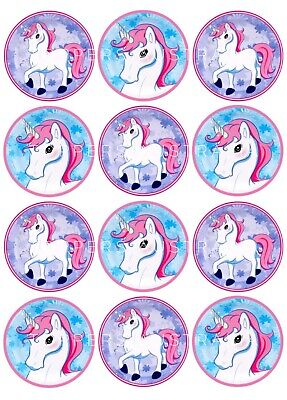 AU4.95 • Buy 12 X Edible Cupcake Toppers - Wafer - Unicorns - Birthday Party Decoration Cake