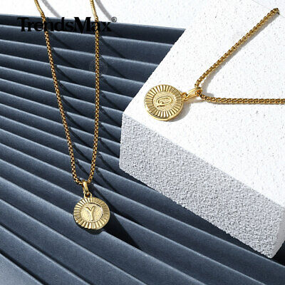 $8.99 • Buy Gold Plated Initial Letter Pendant Necklace Stainless Steel 18-24INCH Box Chain