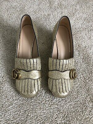 AU320 • Buy Gucci Gold Sparkle Shoe With GG Logo - Size 37 - Excellent Cond - Made In Italy