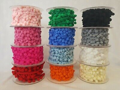 Pompom 5mm Ribbon Trim Trimming Bobble Braid Fringe Christmas Pom Pom • 1.59£