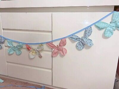 Laura Ashley Butterfly Bunting Little Girls Bedroom Pink Gingham Floral Ditsy • 19.99£