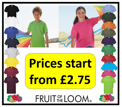 Kids Plain Fruit Of Loom Boys Girls T-Shirt Ages 3-15 Prices Start From £1.99 • 1.99£