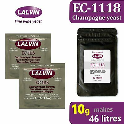£3.99 • Buy Lalvin EC-1118 Champagne Yeast For Wine Cider & Mead, 10g Pack Makes 46 Litres