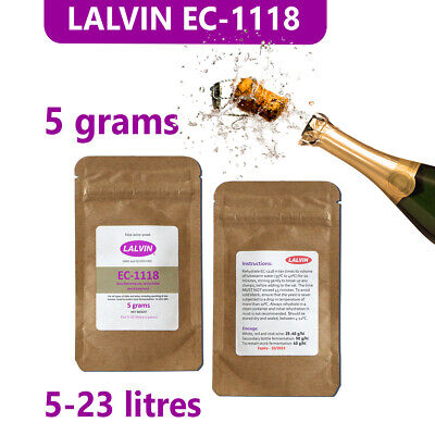 £3.49 • Buy Lalvin EC-1118 'prise De Mousse' Champagne Yeast For Wine And Cider, 5 Gram Pack