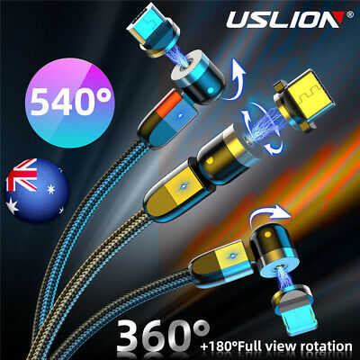 AU15.29 • Buy 360° + 180° Fast Magnetic Cable Type C Micro USB IOS Charger For Android IPhone