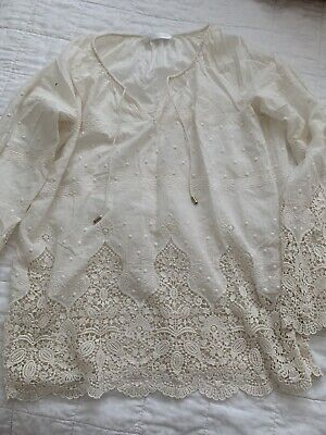 AU50 • Buy Zimmermann Ivory Cotton Embroided Blouse Size 0