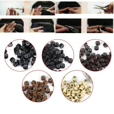 £4.16 • Buy 500 5mm Silicone Lined Micro Rings Beads For Human Hair Extensions Accessories