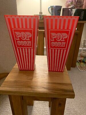Two Red And White Plastic Popcorn Holders 7-1/2 Inches Tall • 7£
