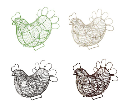 Eddington Chicken Hen Egg Storage Basket Wire Cream Green Grey Vintage Retro  • 11.99£