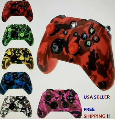 $8.99 • Buy Camo Protective Silicone Skin Cover Xbox One Controller FREE Thumb Sticks