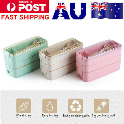 AU23.99 • Buy 900ml 3-Layer Bento Box Students Lunch Box Eco-Friendly Leakproof Food Container