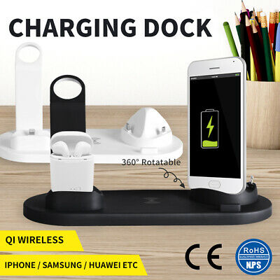 AU27.99 • Buy 3in1 Charging Dock Qi Wireless Charger Station For Apple IPhone IWatch Samsung