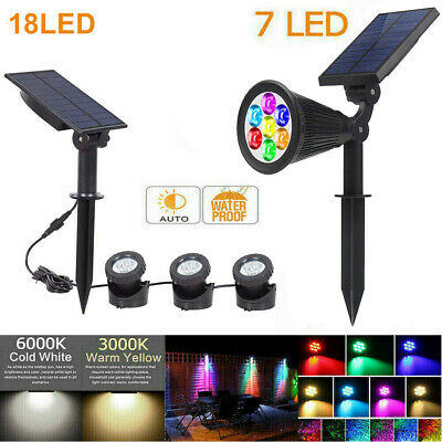 7LED/18 LED Solar Spot Light Color Changing Wall Outdoor Garden Yard Lamp UK • 11.99£