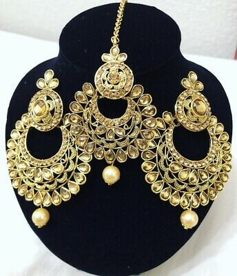$22.50 • Buy Indian Bollywood Style Gold Earrings With Maang Tikka Jewelry Set