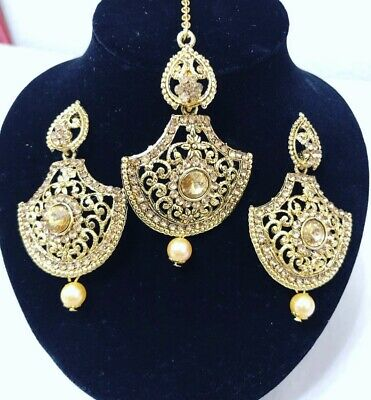 $22 • Buy Indian Bollywood Style Gold Earrings With Maang Tikka Jewelry Set
