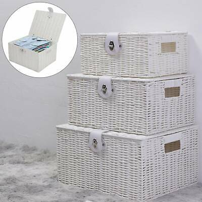 SET OF 3 Storage Baskets Resin Wicker Woven Hamper Box Lid & Lock Stackable UK • 16.99£