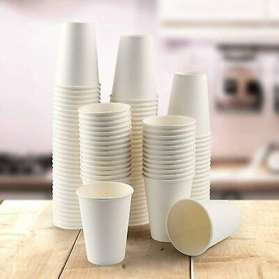 £8.99 • Buy Paper Cups White - Disposable Coffee Cups For Hot Drinks With Lids Party Cups