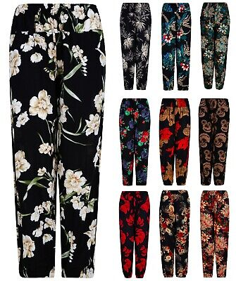 £7.95 • Buy Ladies Harem Trousers Beach Summer Patterned Holiday Light Palazzo Elasticated