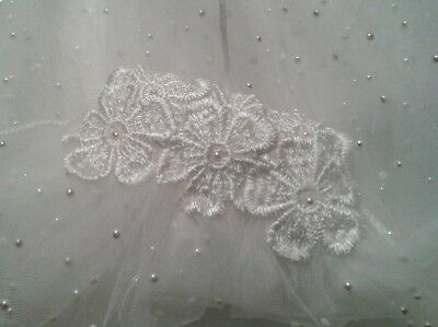 MINAS Stunning 1 Tiere Ivory Swarovski Crystal Pearl Cathedral Bridal Veil   • 99.99£