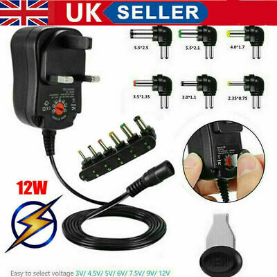 £7.99 • Buy Universal 3-12V Adjustable Voltage Adaptor Charger AC/DC Power Supply Adapter UK