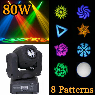 80W LED RGBW Moving Head 8 Pattern Spot Stage Light Disco Gobo DMX DJ Party Club • 79.99£