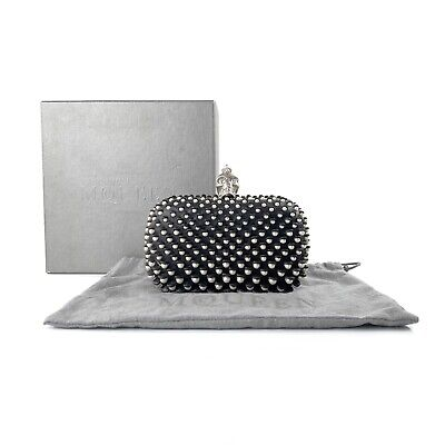 AU1100 • Buy Alexander McQueen Black Leather & Faux Pearl Embellished Skull Box Clutch Bag