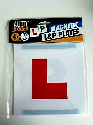 4 Magnetic L P Pass Plates Learner Driver Exterior Car Driving Lesson Sign Plate • 2.99£