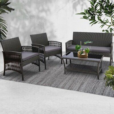 AU348.50 • Buy Gardeon 4 Seater Outdoor Furniture Setting Patio Pool Deck Chair Sofa Lounge Set