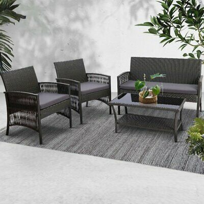 AU292.90 • Buy Gardeon Garden Furniture Outdoor Setting Rattan Chair Table Wicker Patio Grey