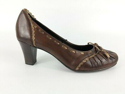 Jana Anti Shock Brown Leather Slip On Mid Heel Shoes Uk 3.5 G New With Box   • 15.99£