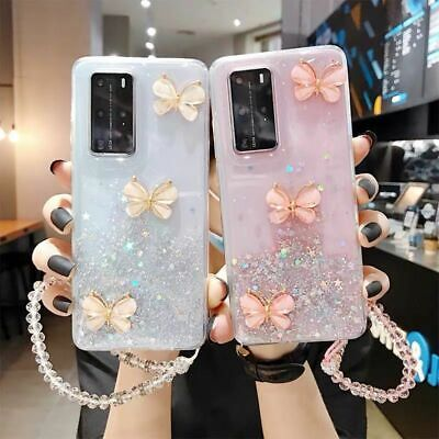 $ CDN11.15 • Buy Case For Samsung Galaxy S20 Note20 A20e A70 A51 S10 Bling Butterfly Strap Cover