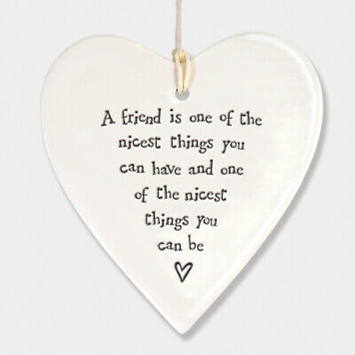 East Of India White Ceramic Friend One Of The Nicest Things You Have Heart 9x9cm • 5.99£
