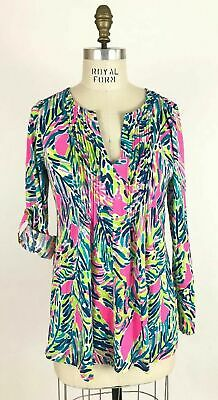 $40 • Buy Lilly Pulitzer Braylen Top Tunic  Multi Palm Reader Cotton Size M
