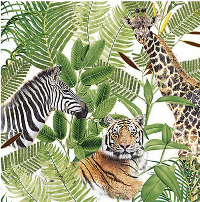 £2.50 • Buy 5 Paper Party Napkins Jungle Safari Pack Of 5 3 Ply Tissue Serviettes Animals